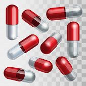 foto of paracetamol  - Set of red and transparent medical capsules in different positions Vector illustration - JPG