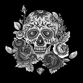 foto of day dead skull  - Monochrome Skull - JPG