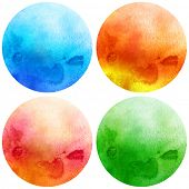 Watercolor circles collection. Watercolor stains set isolated on white background. Watercolour palet