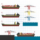 Isometric Container Ship with Crane Vector Illustration