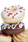 Closeup Stack Of Assorted Doughnuts