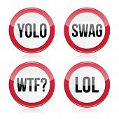 YOLO, swag, WTF, LOL vector signs