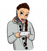 Girl and a pocket computer