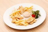 french fries with chicken
