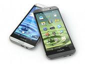 Two mobile phones on white isolated background. 3d