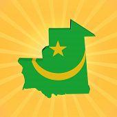 Mauritania map flag on sunburst illustration