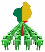 Lines of people with Benin map flag illustration