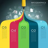 Creative Template Infographic With Mark Pen Drawing Rainbow