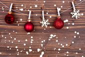 Snowflakes And Christmas Balls On Line
