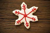 Snowflake Cookie On Wood
