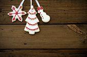 Christmas Cookies Hanging On Wood Ii