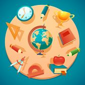 Vector education and school icons set.