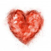 red heart made of black powder explosion isolated on white background