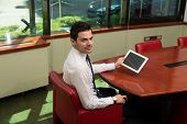 Businessman On A Break With His Touchpad