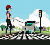 Woman walking dog