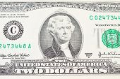 stock photo of two dollar bill  - A close of a two dollars bill - JPG