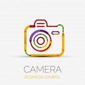 Vector colorful camera icon company logo design, business symbol concept, minimal line design