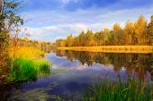 Nice autumn scene on lake, take it in Ukraine