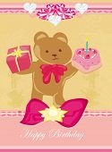 picture of ear candle  - birthday card sweet teddy bear holding a birthday cake  - JPG