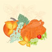 Celebratory Food Christmas Thanksgiving Celebration Vector