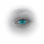 vector dotted halftone raster blue eye