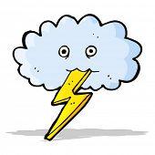 cartoon lightning bolt and cloud