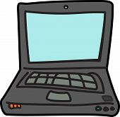Computer Cartoon Illustration Icon