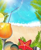 Cocktail On Tropical Background