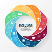 Vector circle business infographic.