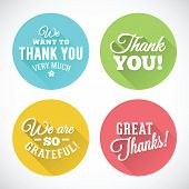 Thank You Abstract Vector Flat Style Badges or Icons