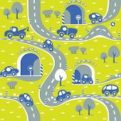 image of grass area  - Seamless pattern of small funny cars on the road with trees and grass area - JPG