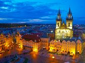Town Square and Church of our Lady Tyn. Prague, Czech
