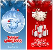 Christmas greeting cards with sheep, symbol of year 2015.