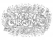 Merry Christmas lettering on festive doodle background with elements of winter holidays