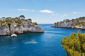 picture of inlet  - Landscape view on calanques of Port Pin in Cassis near Marseille Provence France - JPG