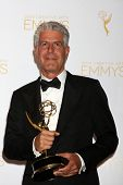 LOS ANGELES - AUG 16:  Anthony Bourdain at the 2014 Creative Emmy Awards - Press Room at Nokia Theat