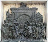 KOLKATA,INDIA - NOVEMBER 27: Bronze memorial panel at the Victoria Memorial building in Kolkata, Wes