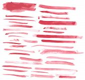 Watercolor red ink brush strokes vector set