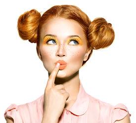 foto of freckle face  - Beauty teenage Model Girl thinking or choosing - JPG