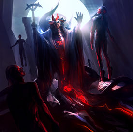 foto of sorcerer  - Fantasy sorcerer raising and resurrecting zombies with magic - JPG