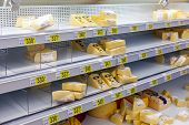 Sale Of Cheese In The Hypermarket Auchan