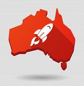 Australia Map Icon With A Rocket