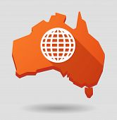 Australia Map Icon With A World Globe