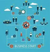 Business Start, Workforce, Team Working, Business People In Motion, Motivation To Success. Template