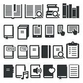 Book icons, e-book, reading on different devices. Vector icons