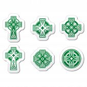 pic of celtic  - Celtic crosses white pattern set isolated on white - JPG