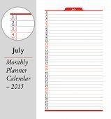 July, Montly Planner Calendar - 2015