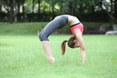 Young Woman Practicing Yoga - Urdhva Dhanurasana , Upward Bow Pose On Lawn