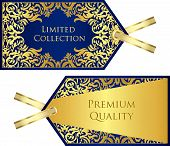 Luxury Blue Price Tag With Golden Vintage Pattern