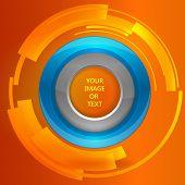 3D tech circle frame on a orange background. Vector illustration